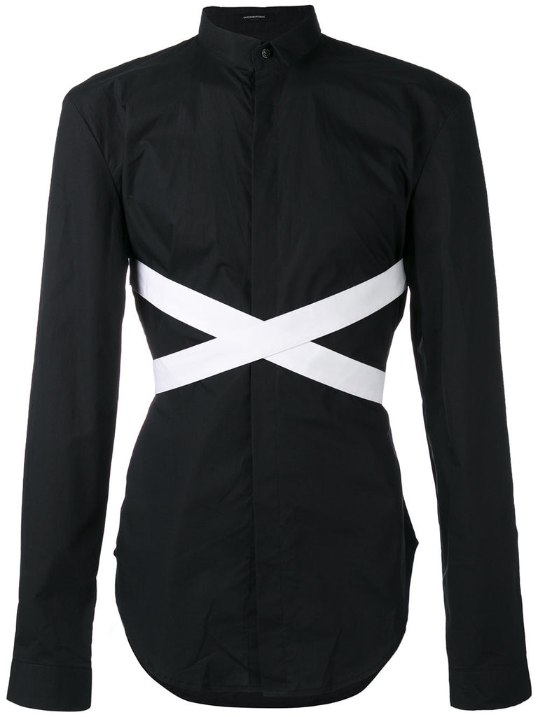 UNCONDITIONAL AW17 pre Black and White long sleeved bondage shirt.