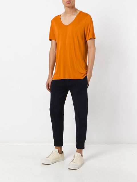UNCONDITIONAL Burnt Gold loose knit rayon scoop neck T-shirt.