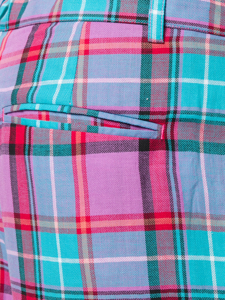 UNCONDITIONAL SS18 blue pink check light cotton drop crotch shorts.
