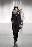 UNCONDITIONAL large handknit black and nude scarf in open weave with boucle detailing  scarf.