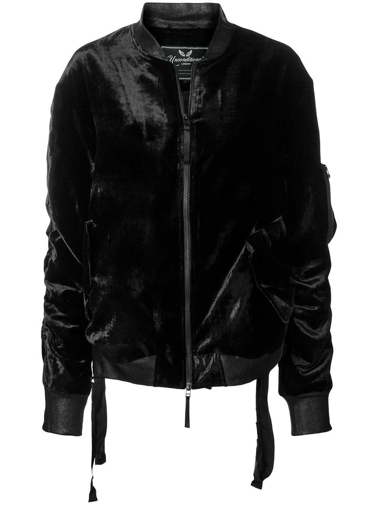 UNCONDITIONAL AW18 Black silk velvet bondage bomber jacket