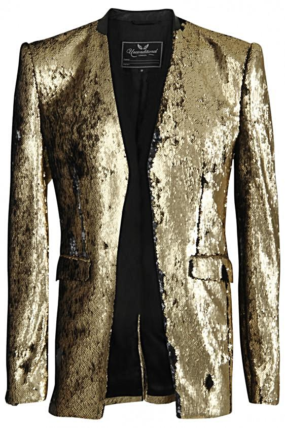 UNCONDITIONAL Old Gold / Black comb-able sequin cutaway jacket