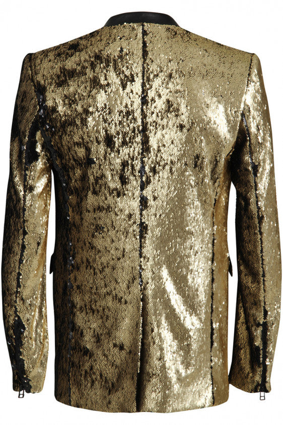 UNCONDITIONAL AW18 Old Gold | Black combable sequin angled cutaway jacket