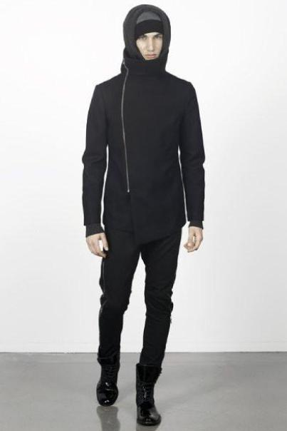 UNCONDITIONAL AW16 Black pure new wool funnel neck coat with external zip
