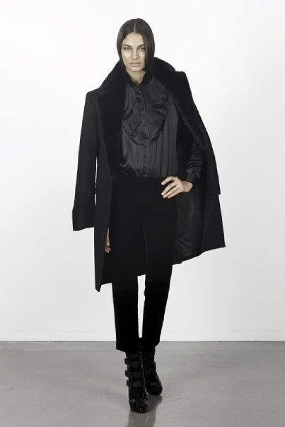 UNCONDITIONAL Black cashmere mix mink collared single breasted coat