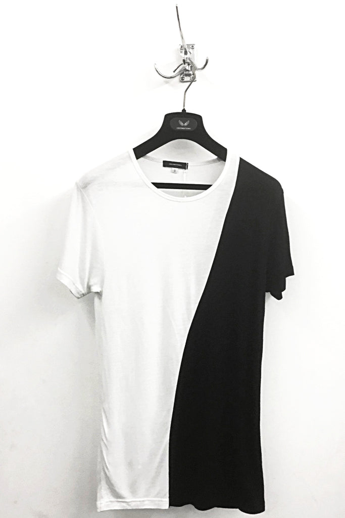 UNCONDITIONAL SS18 Black and White rayon two tone t-shirt.