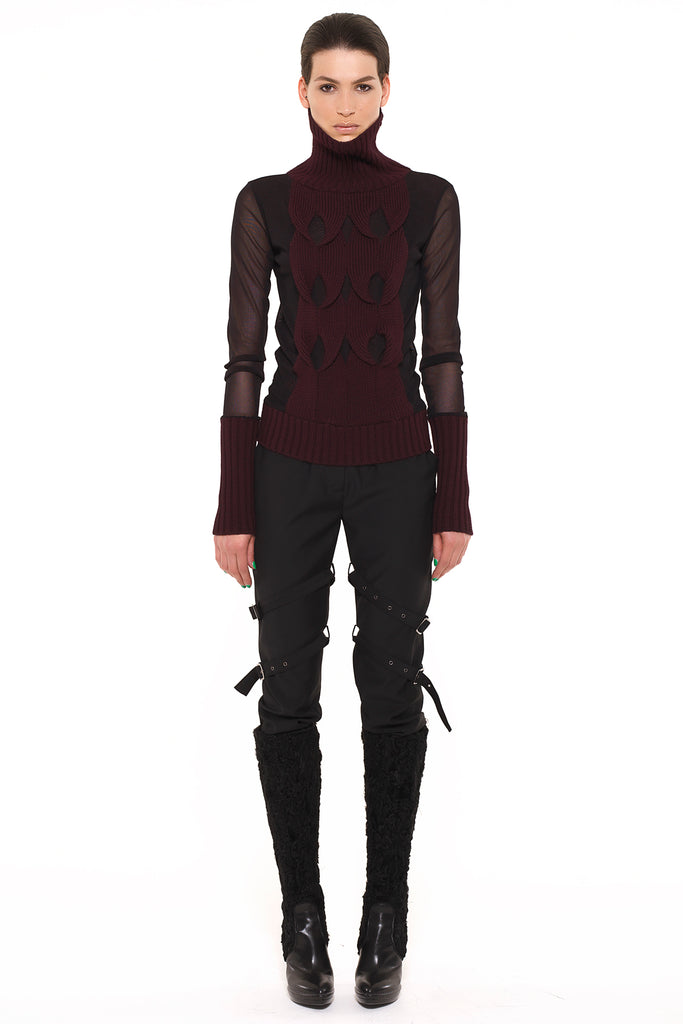 UNCONDITIONAL black MESH AND BURGUNDY CABLE POLO NECK SWEATER