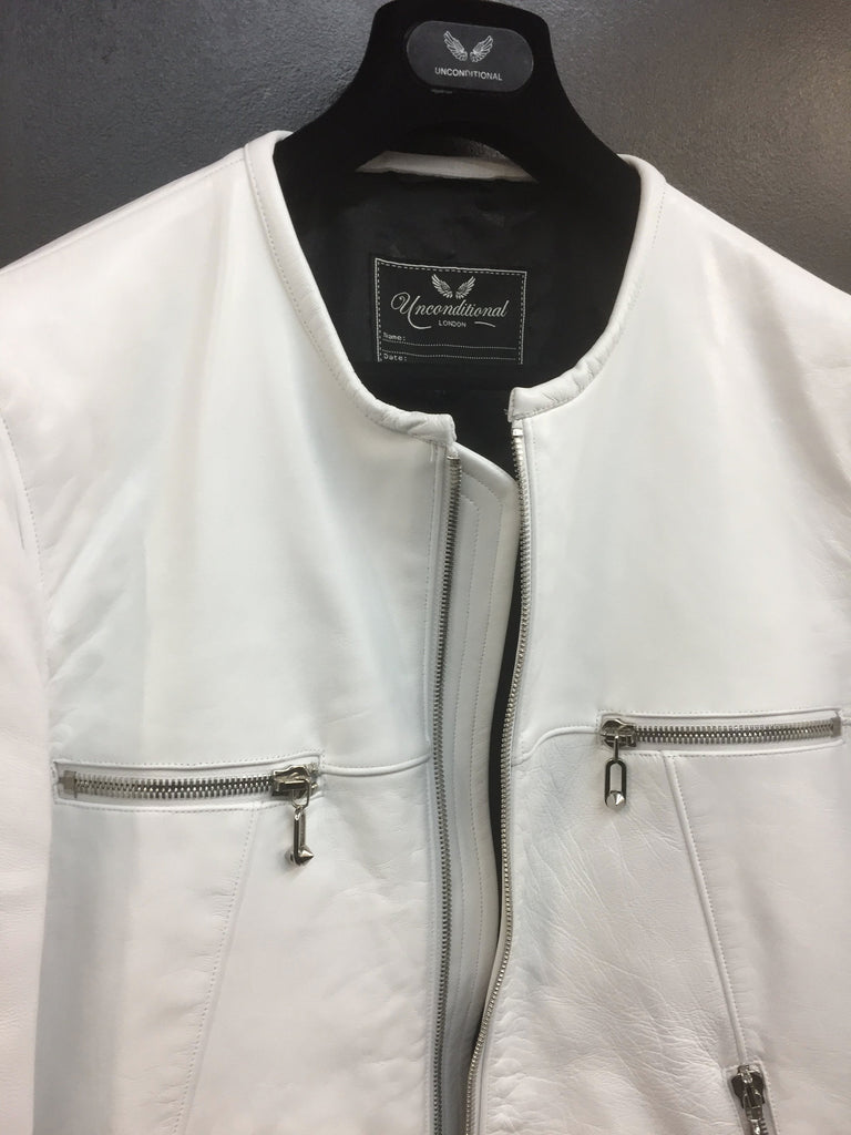 UNCONDITIONAL white panelled collarless biker leather jacket COT228F