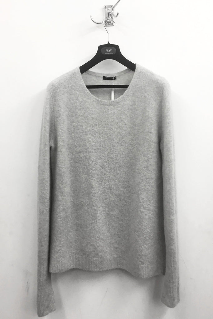 UNCONDITIONAL Silver heavy knit Cashmere felted crew neck sweater