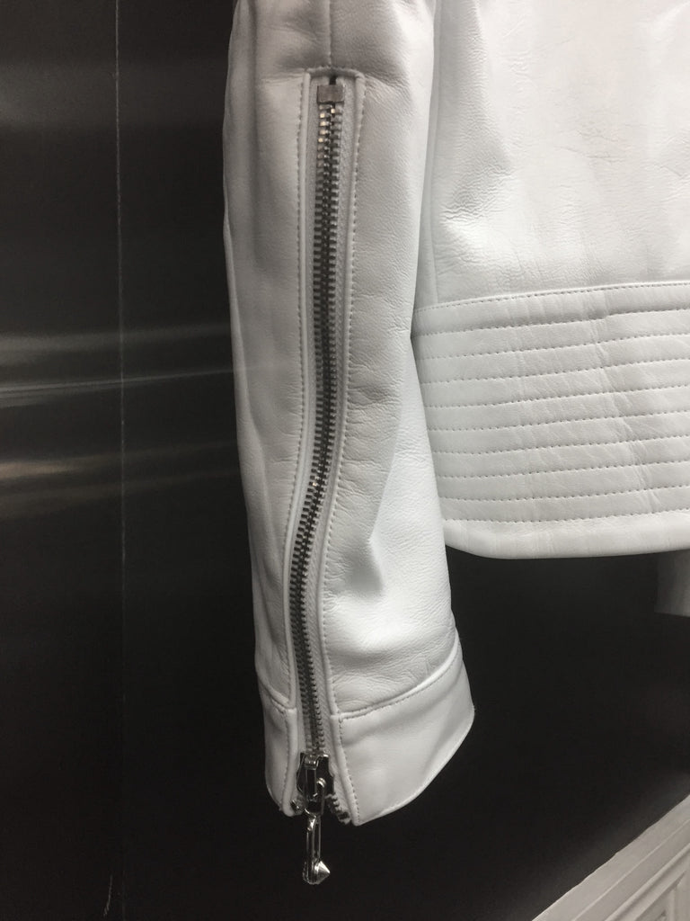 UNCONDITIONAL SS19 SIGNATURE WHITE LEATHER COLLARLESS BIKER JACKET.