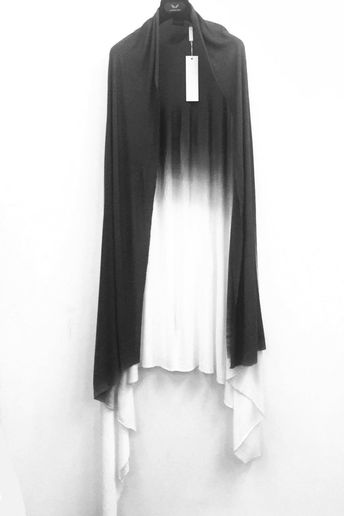 UNCONDITIONAL SS19 White large rayon scarf / sarong with black dip dye
