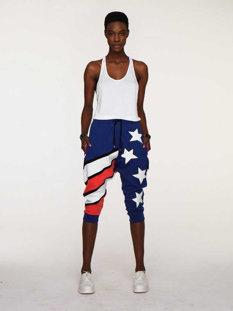 UNCONDITIONAL ladies Americana drop crotch jersey 3/4 harem shorts
