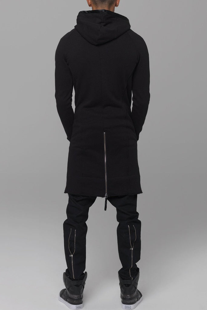 UNCONDITIONAL Black sweat shirting long zip up hoodie. ms79long