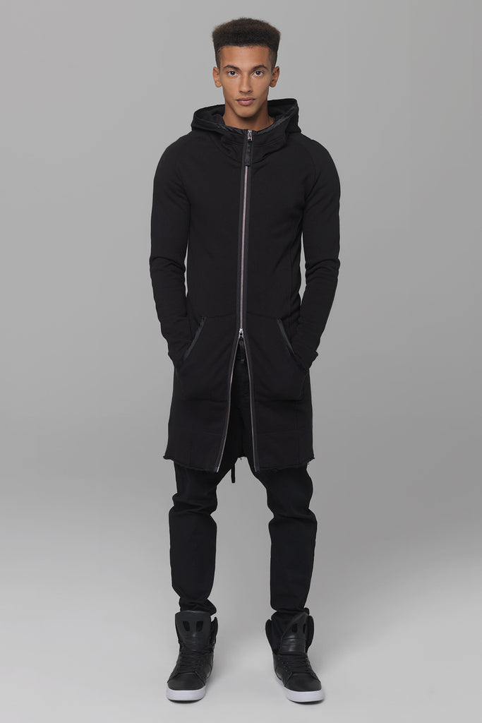 UNCONDITIONAL Dark Tar Grey sweat hooded shirt with back zip and silk trims