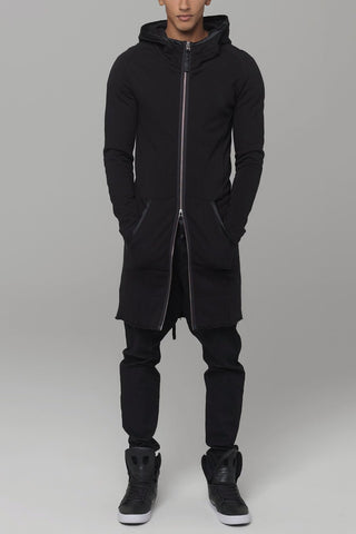 UNCONDITIONAL AW18 Black zip edge funnel neck long tunic hoodie