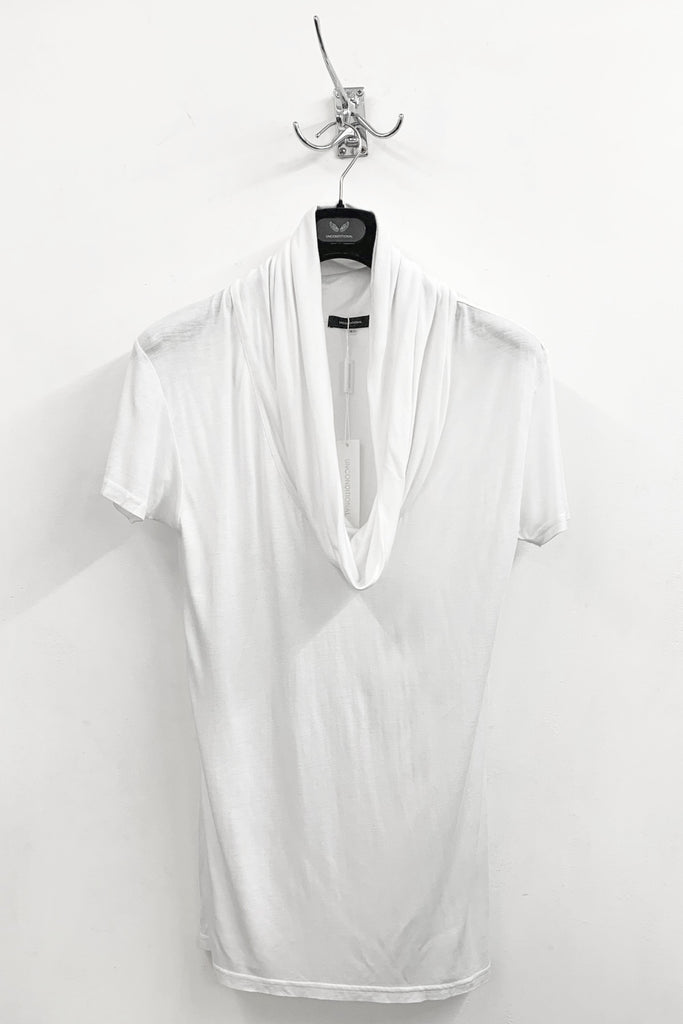 UNCONDITIONAL WHITE TWIST FUNNEL NECK T-SHIRT