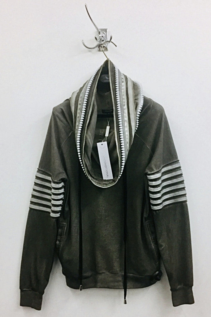 UNCONDITIONAL SS19 Military cold dye funnel neck hoodie with neck & arm zip detailing