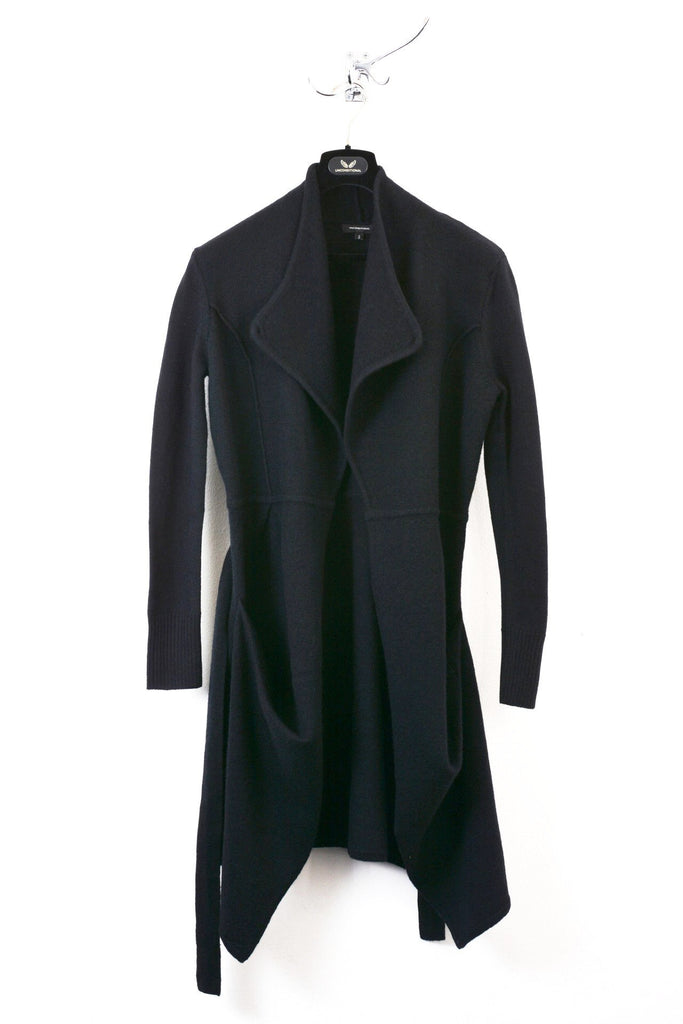 UNCONDITIONAL BLACK BOILED WOOL BELTED TRENCH COAT.