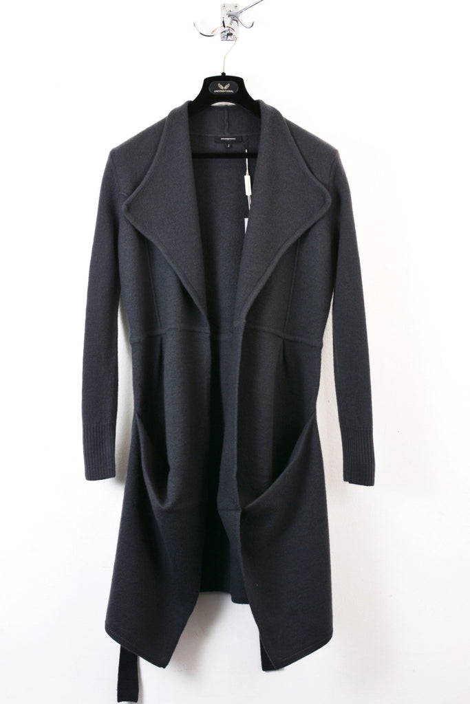 UNCONDITIONAL Dark Grey boiled merino knitted belted trench coat