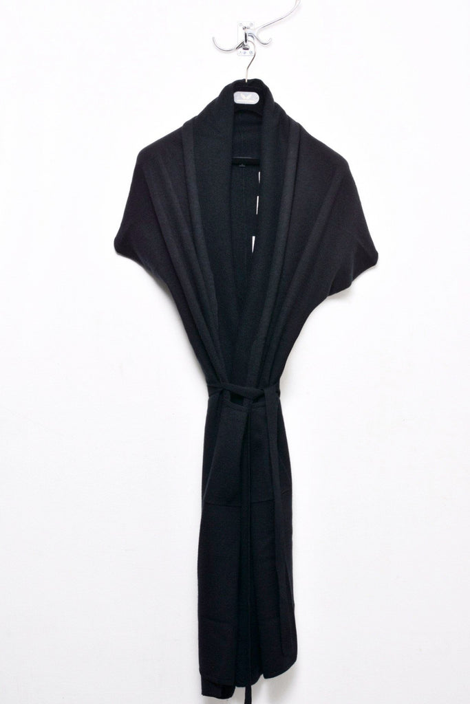 UNCONDITIONAL Black boiled merino wool wrap sleeveless cardigan.