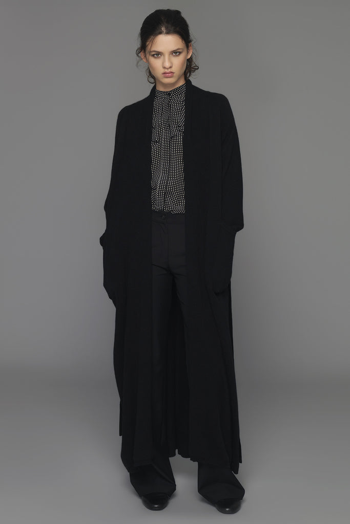 "UNCONDITIONAL AW15 black full length ladies cashmere ""dressing gown"" cardigan."