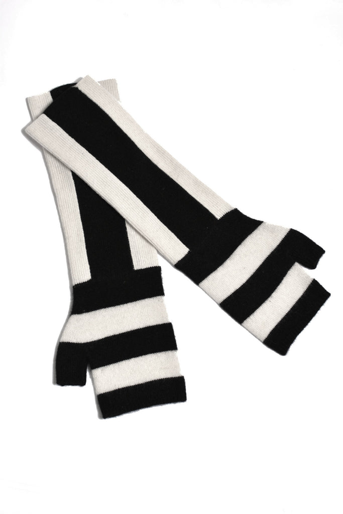 UNCONDITIONAL CASHMERE STRIPED LONG FINGERLESS GLOVE.