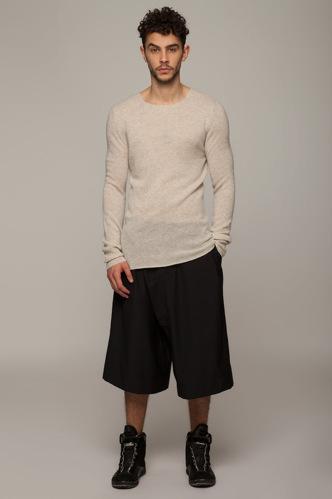 UNCONDITIONAL taupe cashmere loose knit crew neck jumper with hem rib.