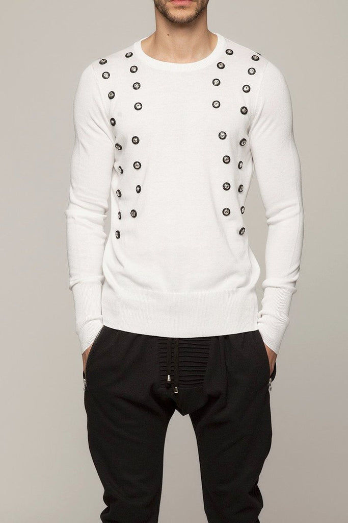 UNCONDITIONAL White cotton crew neck sweater with black scarification poppers