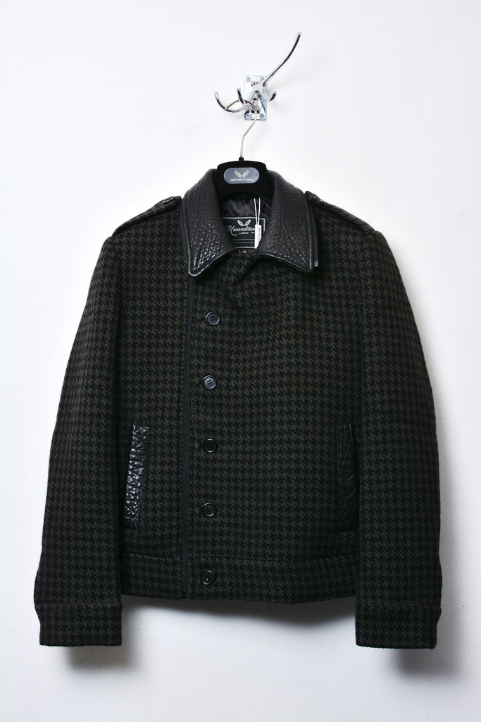 UNCONDITIONAL BLACK AND GREEN CHECK DOUBLE BREASTED COAT WITH LEATHER COLLAR.