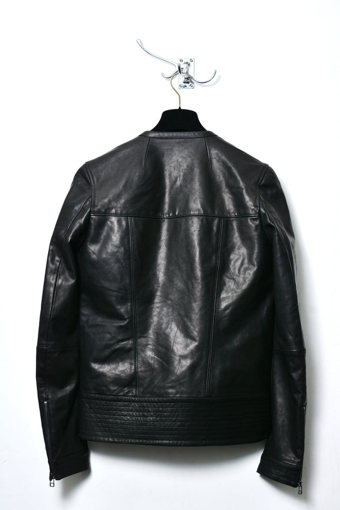 UNCONDITIONAL black panelled collarless biker leather jacket COT228F