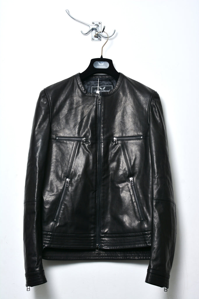 UNCONDITIONAL SS16 BLACK LEATHER COLLARLESS BIKER JACKET.