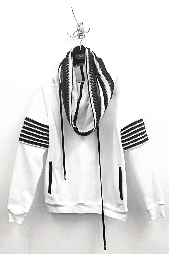 UNCONDITIONAL SS18 White funnel neck hoodie with contrast heavy neck and arm zip details.