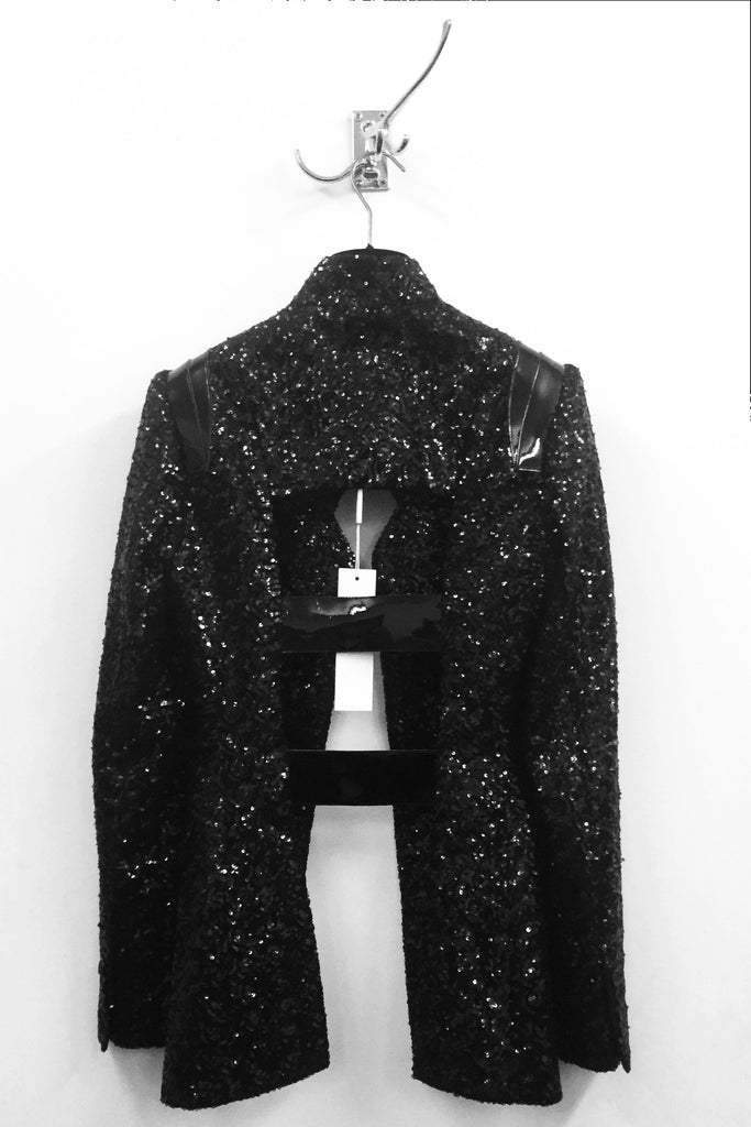 UNCONDITIONAL AW19 Black sequin cageback jacket with patent leather detailing