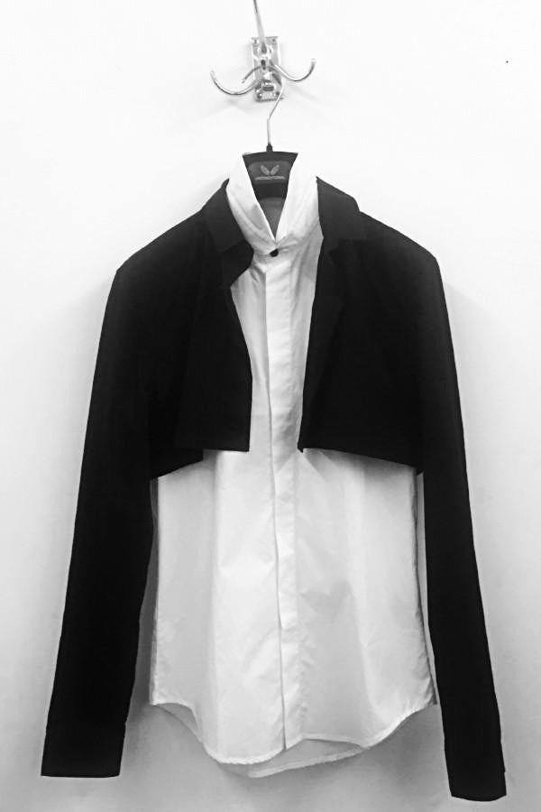 UNCONDITIONAL AW18 Black on White long sleeved double layer shirt.