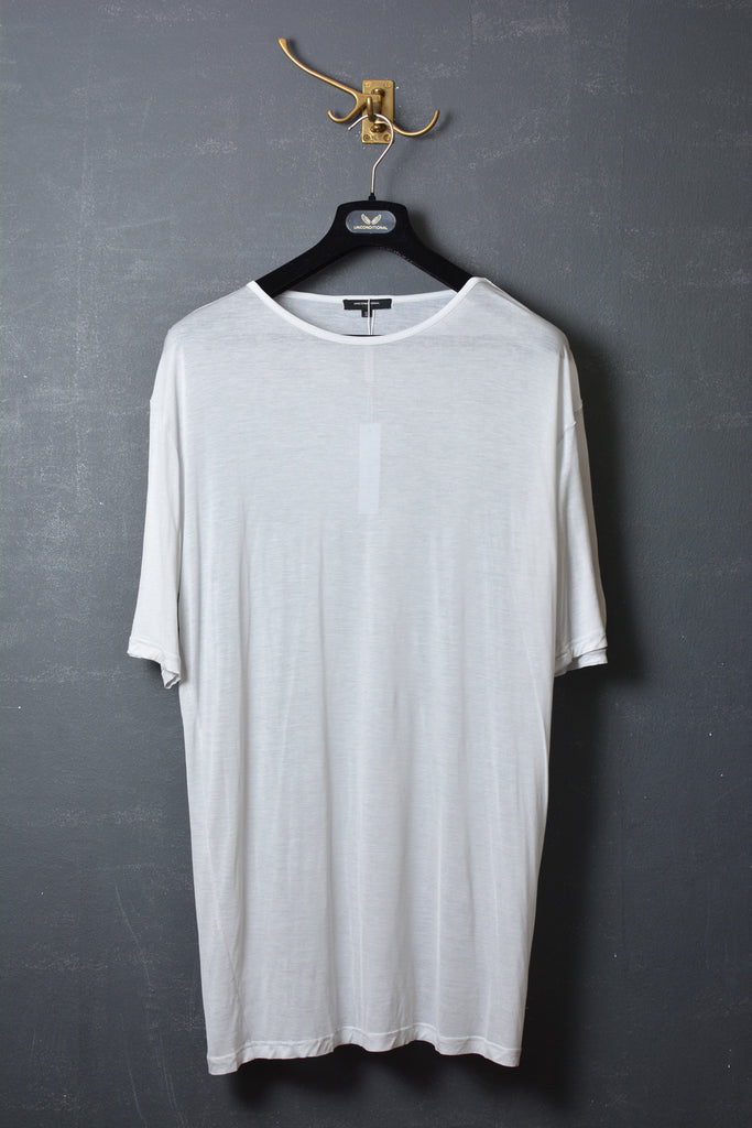 UNCONDITIONAL dirty white tencel oversized crew neck tee.