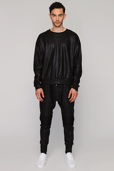 UNCONDITIONAL SS17 leather look matt black crew neck sweatshirt