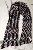 UNCONDITIONAL large handknit black, white nude scarf in open boucle knit