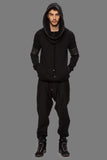 UNCONDITIONAL Black funnel neck hoodie with heavy neck & arm zip detailing