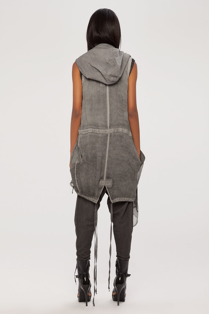 UNCONDITIONAL Military cold dye drape layer waistcoat sleeveless hooded parka.