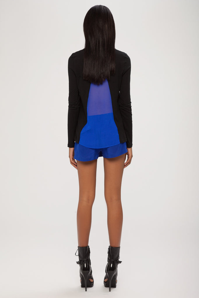 UNCONDITIONAL Azure silk crepe mini skirts shorts
