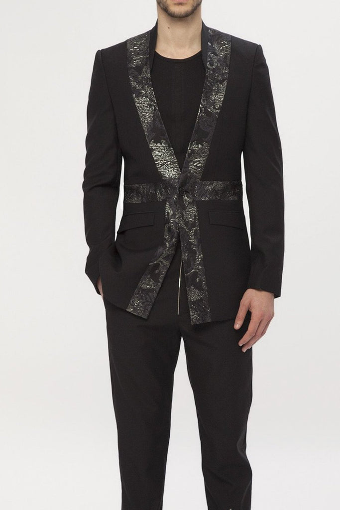 UNCONDITIONAL Black and Black metallic brocade Union Jack blazer.