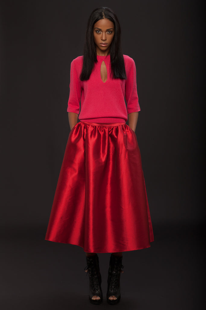 UNCONDITIONAL long gathered flared couture red pocket skirt