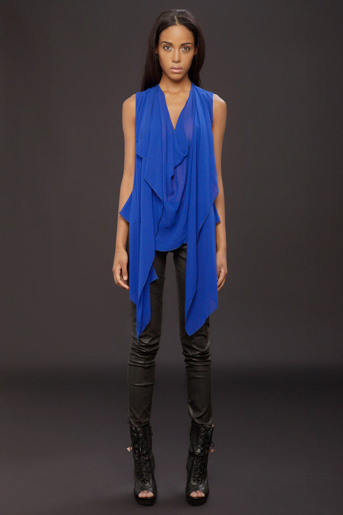 UNCONDITIONAL SS18 azure double layer drape front blouse