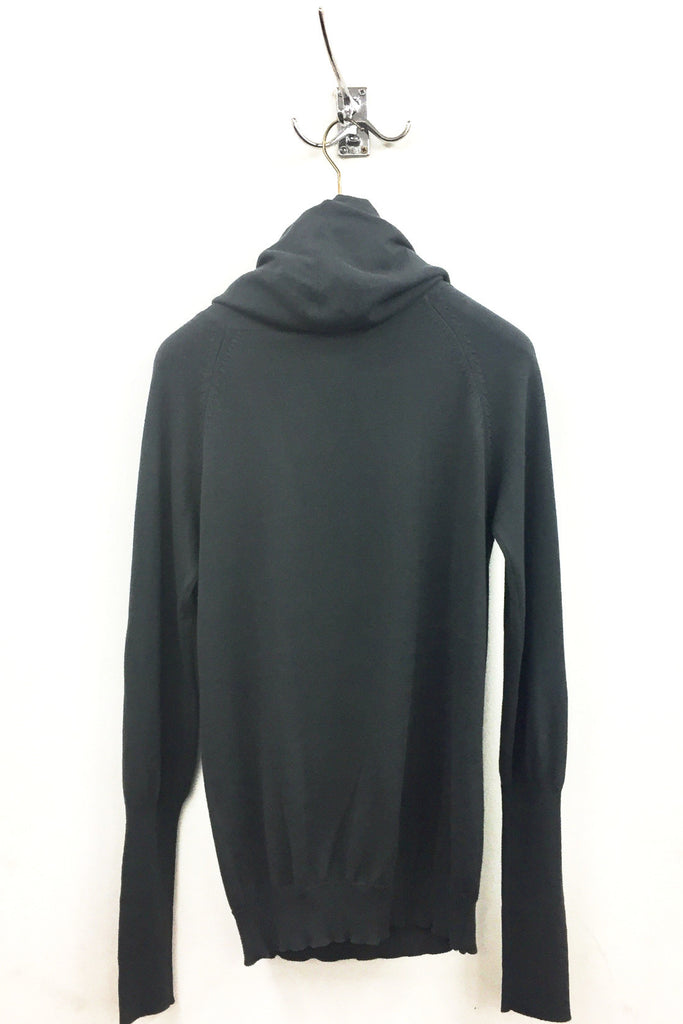 UNCONDITIONAL Dark Grey draped funnel neck hoodie in pure cotton knit