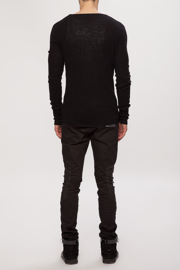 UNCONDITIONAL Black pure Cashmere loose knit deep V-neck jumper.