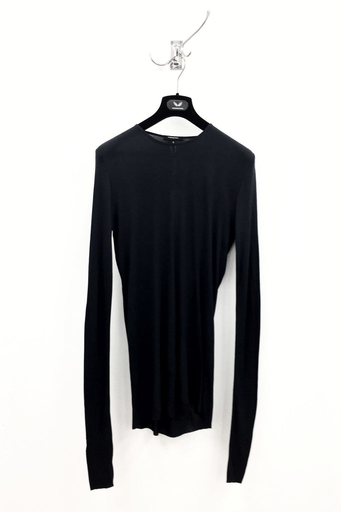 UNCONDITIONAL SS19 Black rayon rib crew neck long sleeved T