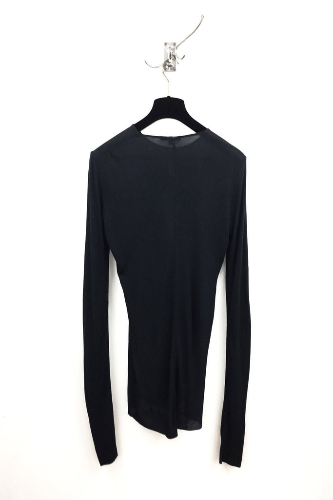 UNCONDITIONAL SS20 Black rayon rib crew neck long sleeved T