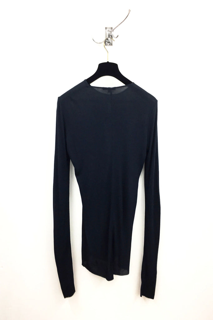 UNCONDITIONAL AW18 Petrol Blue rayon rib crew neck long sleeved T-shirt.