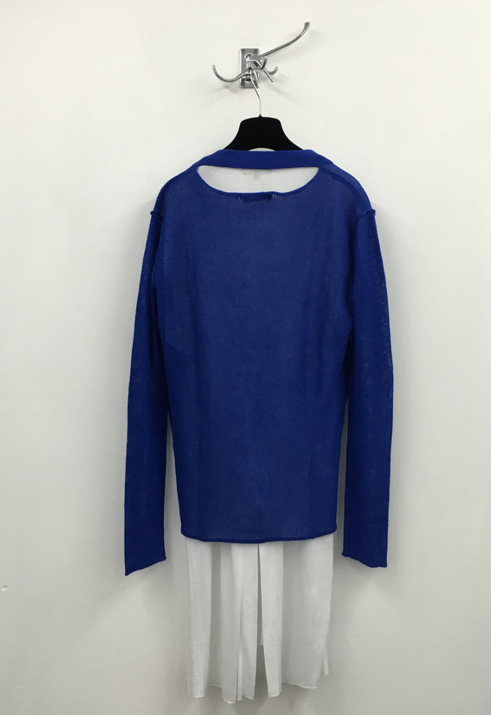 UNCONDITIONAL blue loose knit cotton linen cardigan with back neck slash.