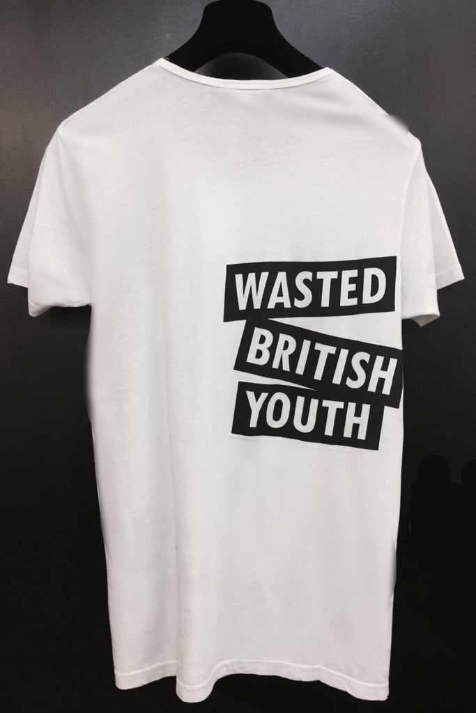 UNCONDITIONAL White cotton T-shirt with WASTED BRITISH YOUTH print
